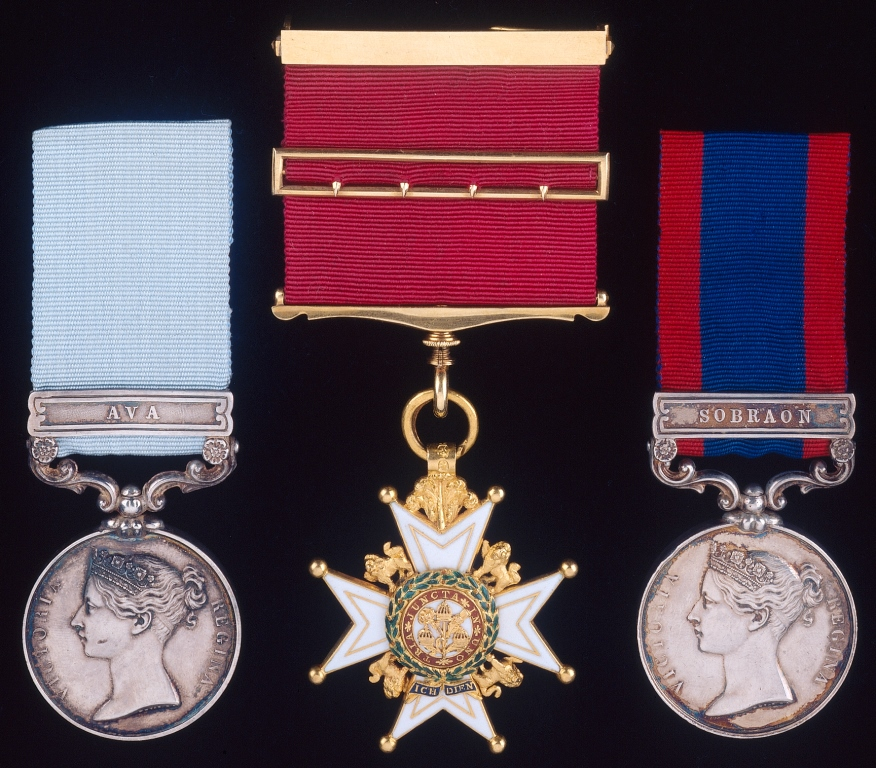 The medals of Colonel George Lawrenson, C.B. (1803-56), comprising the Army of India Medal 1799-1826 with clasp Ava (engraved with his name as Lieut., (1st) Regt. of Arty.), the breast badge of the Companion of the Order of the Bath (silver hallmarked for 1815), and the Sutlej Medal 1845-6 with clasp Sobraon (engraved with his name as Major, 2nd Brigade H. Ay.).