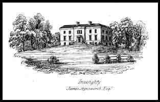 A 19th century image of Invereighty House, the home of Colonel John Lawrenson and his family after his wife inherited it in 1794 on the death of her brother, William Simson (their father George Simson had previously owned it). Invereighty was one of three estates in the parish of Kinnettles, just south of the town of Forfar and about 13 miles north of Dundee. The house was demolished in the 1960s.