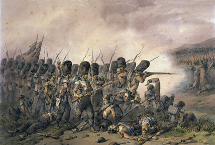 'Battle of Alma, 1854' by Orlando Norie, showing the Coldstream Guards. The Alma was best known for the achievements of the Highland Brigade, one of whose regiments, the 93rd, was to find further fame at Balaclava, after William Howard Russell – the celebrated war correspondent for The Times – described their defensive line as a 'thin red streak', later to enter popular parlance as the 'Thin Red Line.' This image could have come straight from the Napoleonic Wars, except that the British soldiers are firing percussion rifles – loaded from the muzzle in the same way as the smoothbore muskets of their Russian opponents, but far more accurate and with a greater range. The artist (one of the most prolific military painters of the 19th century) is thought to have based his Crimea watercolours on the sketches of his uncle Frederick Norie, who accompanied the Sardinian Army in 1854-5 (National Army Museum, Accession No. 1968-06-321-2).