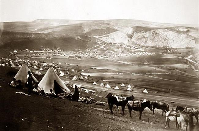 'Cavalry camp, looking towards Kadikoi,' by Roger Fenton (1855). Along with the use of the telegraph, allowing the reports of William Howard Russell and other correspondents to reach the newspapers at something close to 'real time', immediacy for the British public was given by the 350-odd photographs taken by barrister-turned photographer Roger Fenton during his time in the Crimea from March-June 1855 (many were converted into woodblocks and published in the  Illustrated London News ). The officer portraits he took do not include John Lawrenson, who at this period was still convalescing in England, but this image shows one of the large cavalry camps to which Lawrenson would have returned in July when he was appointed commander of the Heavy Brigade ( U.S. Library of Congress Fenton Crimean War photographs collection ),