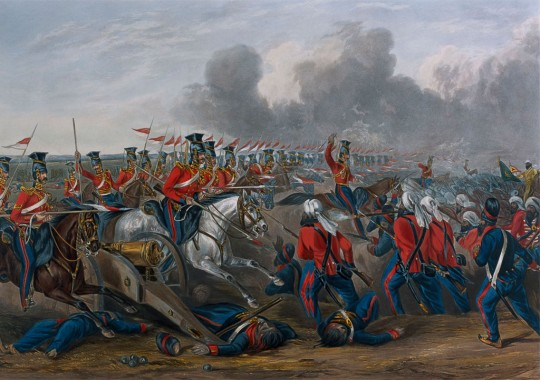 'Charge of the 16th (Queen's Own) Lancers at the Battle of Aliwal, January 1846', showing an overrun Sikh field gun in the foreground. This gives a vivid image of the battle in which Major Lawrenson and his artillerymen distinguished themselves. Sir John Smith's force was made up of a mix of British regiments, as shown here, and units of the East India Company army (British officered but with native sepoys), numbering altogether about 10,000 men with 24 guns (coloured aquatint by J. Harris after H. Martens, published by Rudolph Achermann, 1847.  National Army Museum , Accession No. 1971-02-33-24).