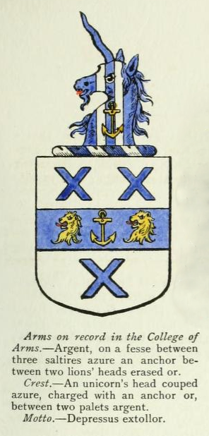 These arms were granted by the College of Arms to my ancestor John Gale of Whitehaven and his brothers in 1712. They were sea-captains, and the anchor represents their profession. This is a hand-coloured image from Howard and Crisp's Visitation of 1893 (see also below under Gale family). You can read a transcript of the original Grant of Arms here.