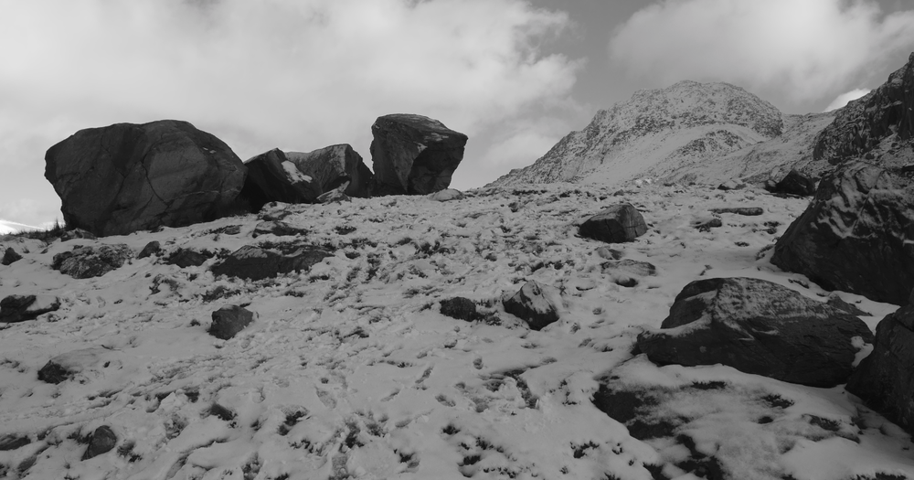 The Darwin erratics, with Tryfan in the background