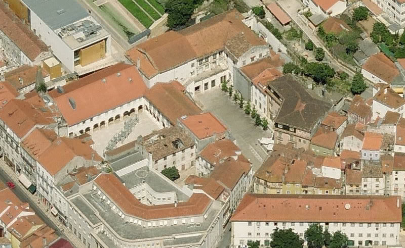 The buildings of the Portuguese Inquisition at Coimbra, where more than 9,500 Jews were tried for heresy between 1541 and 1781. The 'Patio of the Inquisition', the square to the right of centre, led to the tribunal chambers and cells in the buildings to the left. This was where most of Rebecca's ancestors who were brought before the Inquisition were tried and imprisoned, including her grandparents and great-grandparents.