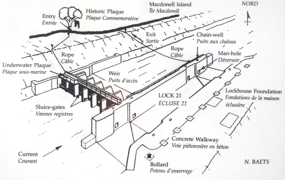 A plan of Lock 21 for divers on display in the information pavilion at the site. For our dive seen in the video we followed the rope down to the weir, went through the sluice gates and came up the other side.(plan: N. Baets).