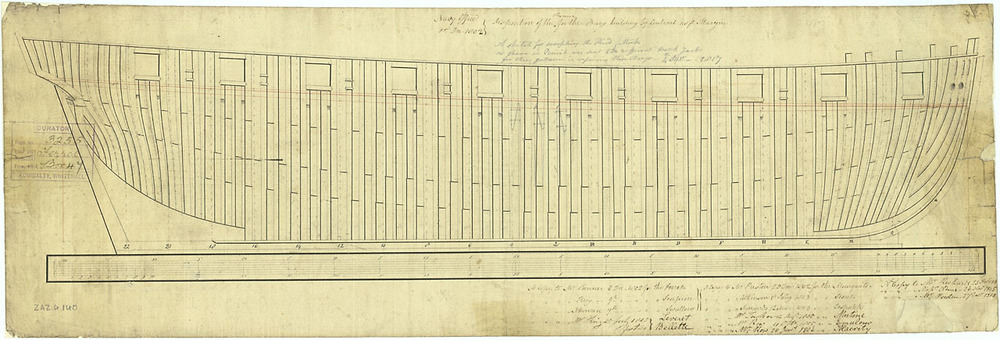 A plan dated 1 December 1802 showing the framing disposition of 72 vessels of the Cruizer class lauched between 1803 and 1809, including HMS  Primrose  ( National Maritime Museum ZAZ 4140 ).