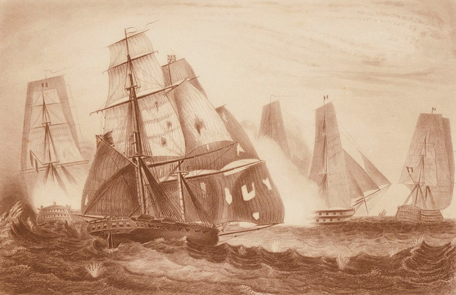 This depiction of HMS  Recruit , another one of the batch of 17 Cruizer-class brig-sloops built to the Barham's Board design in 1806-7, gives an excellent impression of the appearance of HMS  Primrose . The two-mast brig-rig can clearly be seen, as well as the portholes for the carronades. The caption reads 'Intrepid behaviour of Captn Charles Napier, in HM 18 gun Brig  Recruit  for which he was appointed to the  D'Haupoult . The 74 now pouring a broadside into her. April 15 1809.'  Recruit  survived this action, and was sold in 1822 (etching, George W. Terry and George Greatbach,  National Maritime Museum PAD5779 )