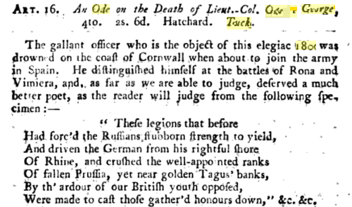 As with other wrecks of this period, the loss of HMS  Primrose  occasioned a literary epithet - in this case an ode on the unfortunate Colonel Tucker, who, as the anonymous author of this review in   The British Critic   opined, 'deserved a much better poet.'