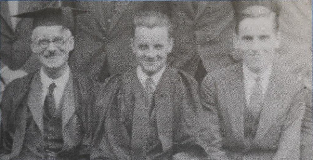 'Headmaster Gibbins, mathematics master Evans, and Dan Pedoe at the Central Foundation Boys School in London, 1927.' On the cover of The College Mathematics Journal 29.3 (1988).