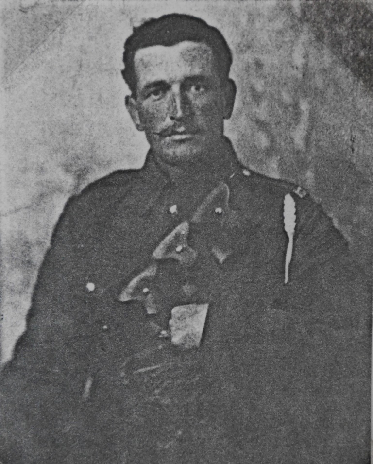 Charles Gerald Cook during the First World War. He wears the standard 1903 pattern bandolier used by British artillerymen, cavalrymen and other corps to carry small-arms ammunition, a ready way to distinguish these men in photos from infantry. The lanyard was attached to a clasp knife held in the breast pocket, used in units with horse-drawn guns to extract stones from hooves but also for many other purposes.