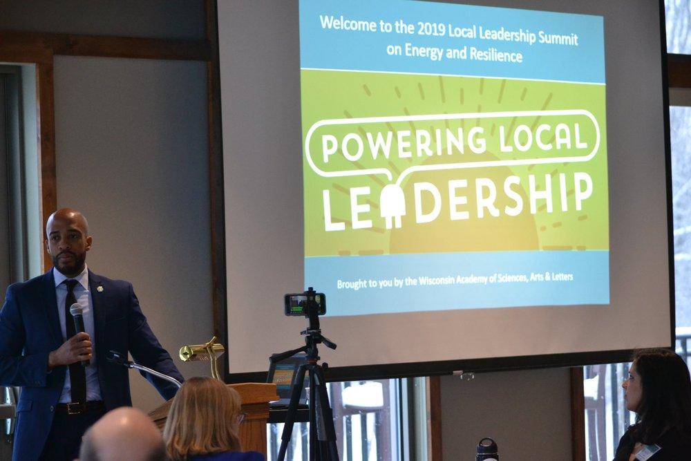 Mandela Barnes delivering the welcoming keynote address at the Powering Local Leadership summit. (Photo credit: Amanda Shilling)
