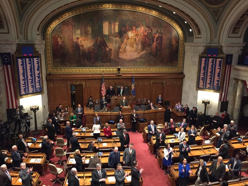 Watching Governor Evers' State of the State address from the gallery.