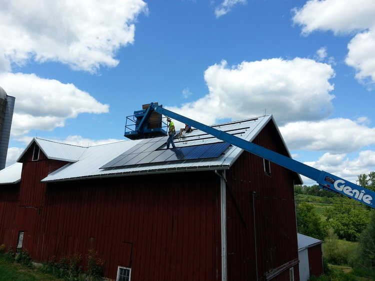 Our 6 kW solar system on the barn roof