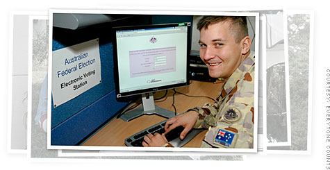 An Australian solider stationed in Baghdad uses Everyone Counts' e-voting software to cast a virtual ballot in Australia's federal elections.