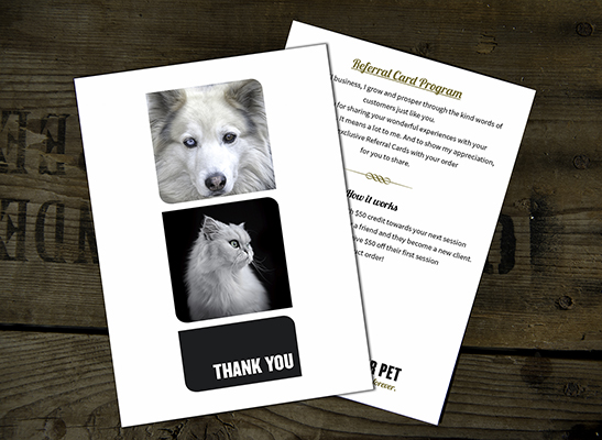Frame Your Pet THANK YOU card (front & back).