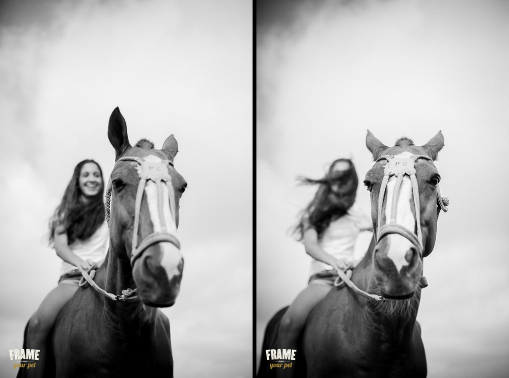 B&W photos of girl on a horse