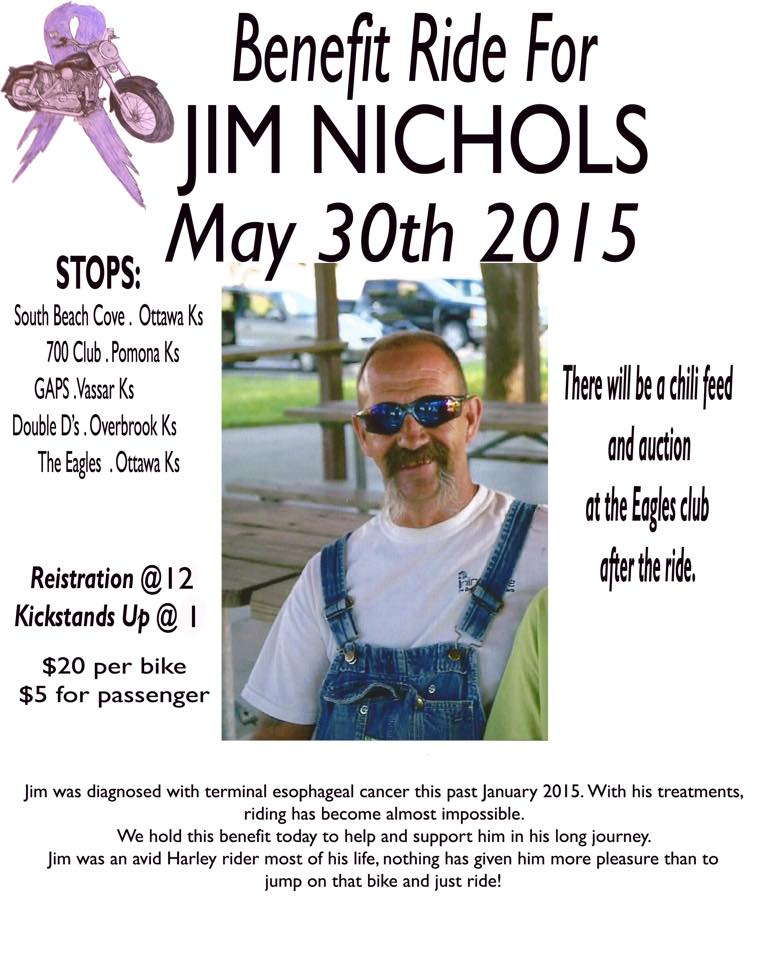 Jim was diagnosed with terminal esophageal cancer this past January 2015. With his treatments, riding has become almost impossible.  We hold this benefit today to help and support him in his long journey. Jim was an avid Harley rider most of his life, nothing has given him more pleasure than to jump on that bike and just ride!