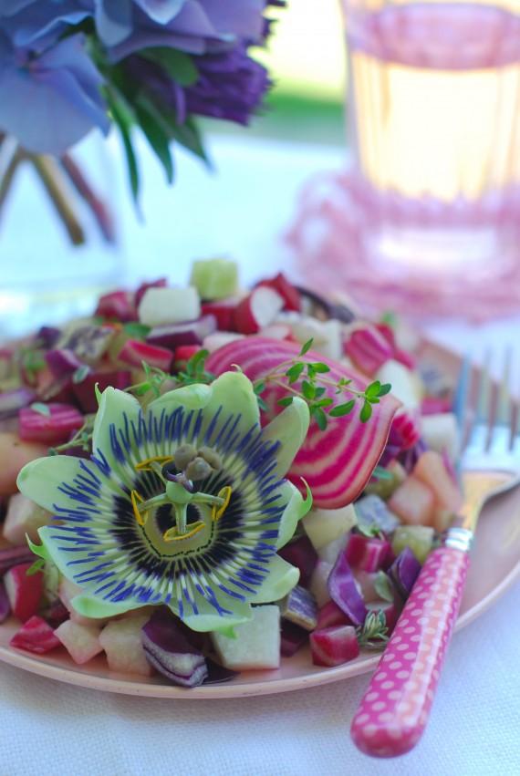 Crunchy Salad of Pink and Purple Veggies