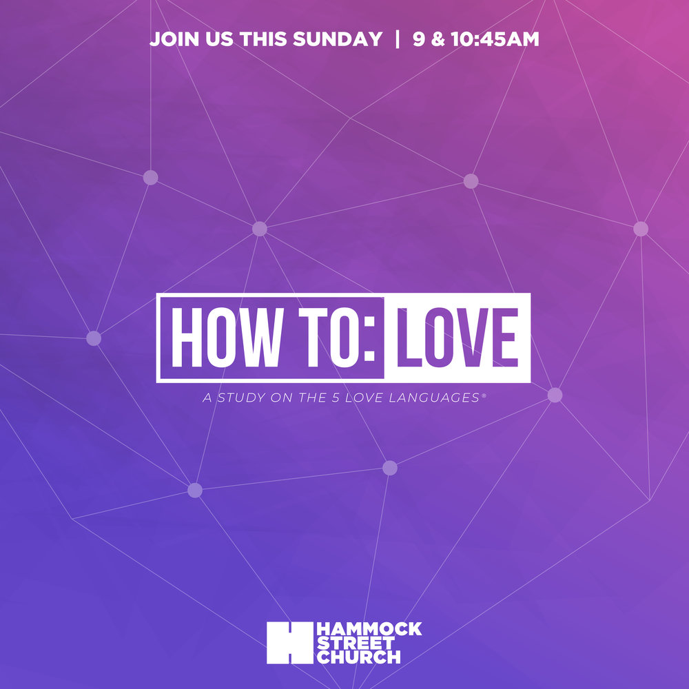 "- We talk a lot about love around here. Now's the time to talk about the way in which we show it. Join us Sunday as we continue our series How to: Love.We'll be using the bestselling book ""The Five Love Languages,"" by Dr. Gary Chapman as our go-by.Do you know your love language. If you're interested, go ahead and take the Five Love Languages Profile.If you've missed a Sunday, you can always catch up! Listen to past sermons here."