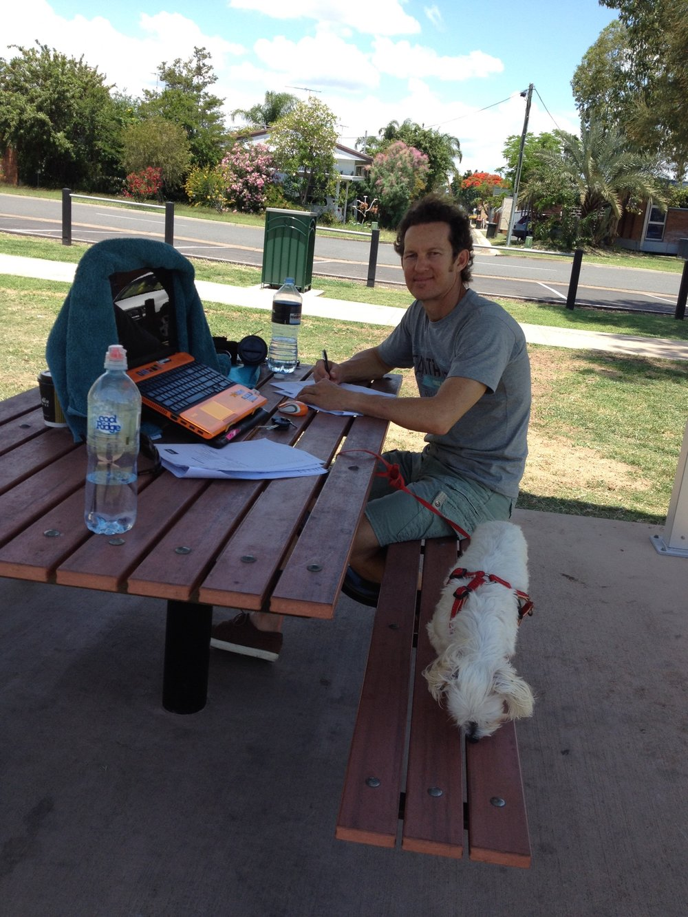 Beryl Training CPR/LVR in a park at Biloela for a student from Monto.