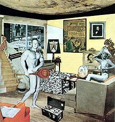 Richard Hamilton's 1956 collage titled Just What Is It That Makes Today's Homes So Different, So Appealing?