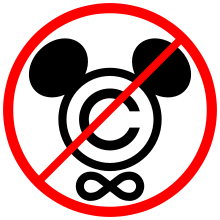 "A logo representing opposition to the CTEA, using a reference to its ""Mickey Mouse Protection Act"" pejorative denomination"