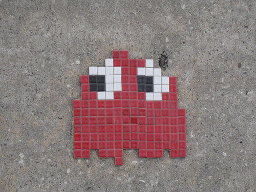 Invader (born 1969) is a French urban artist who installs public graffiti mosaics based on characters from the 1978 arcade game Space Invaders Photo --Justin A. Wilcox