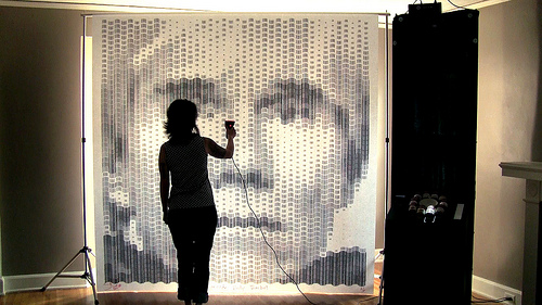 Barcode Andy Warhol portrait made with 2,160 barcodes  from Campbell's Soup cans that were part of Warhol's iconic screenprints. --Scott Blake