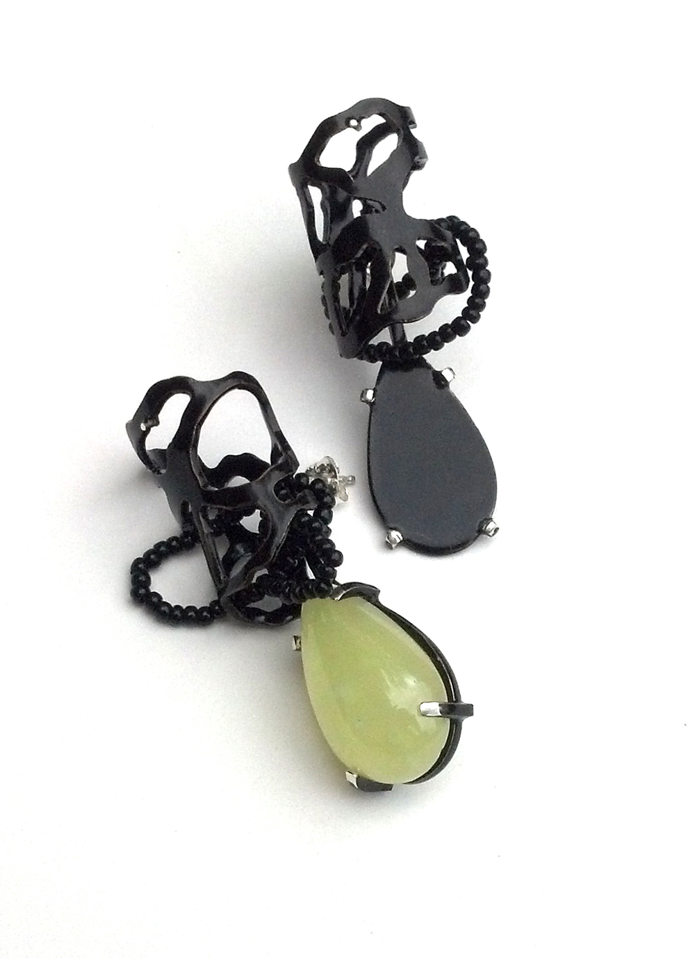 E1 Wood, Laura prehnite teardrop stone, black teardrop on other, black beading.jpg