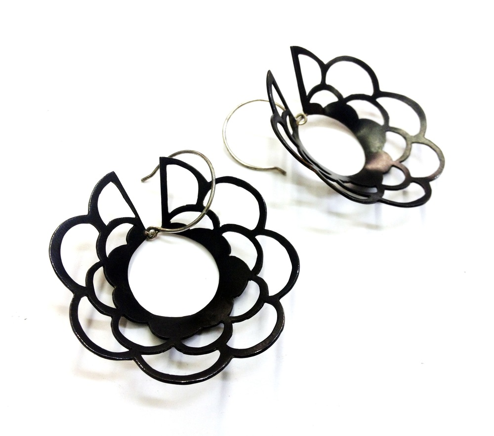 E2 Wood, April steel and silver spirograph circle earrings.jpg