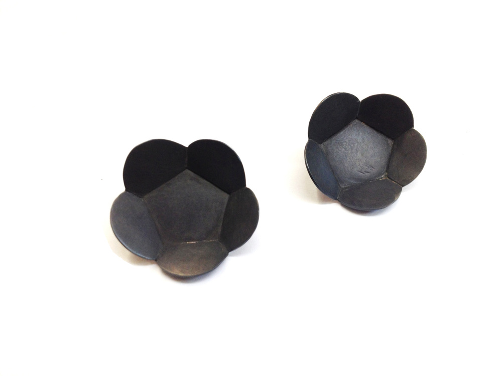 E4 Wood, April steel and silver faceted floral pentagon post earrings.jpg