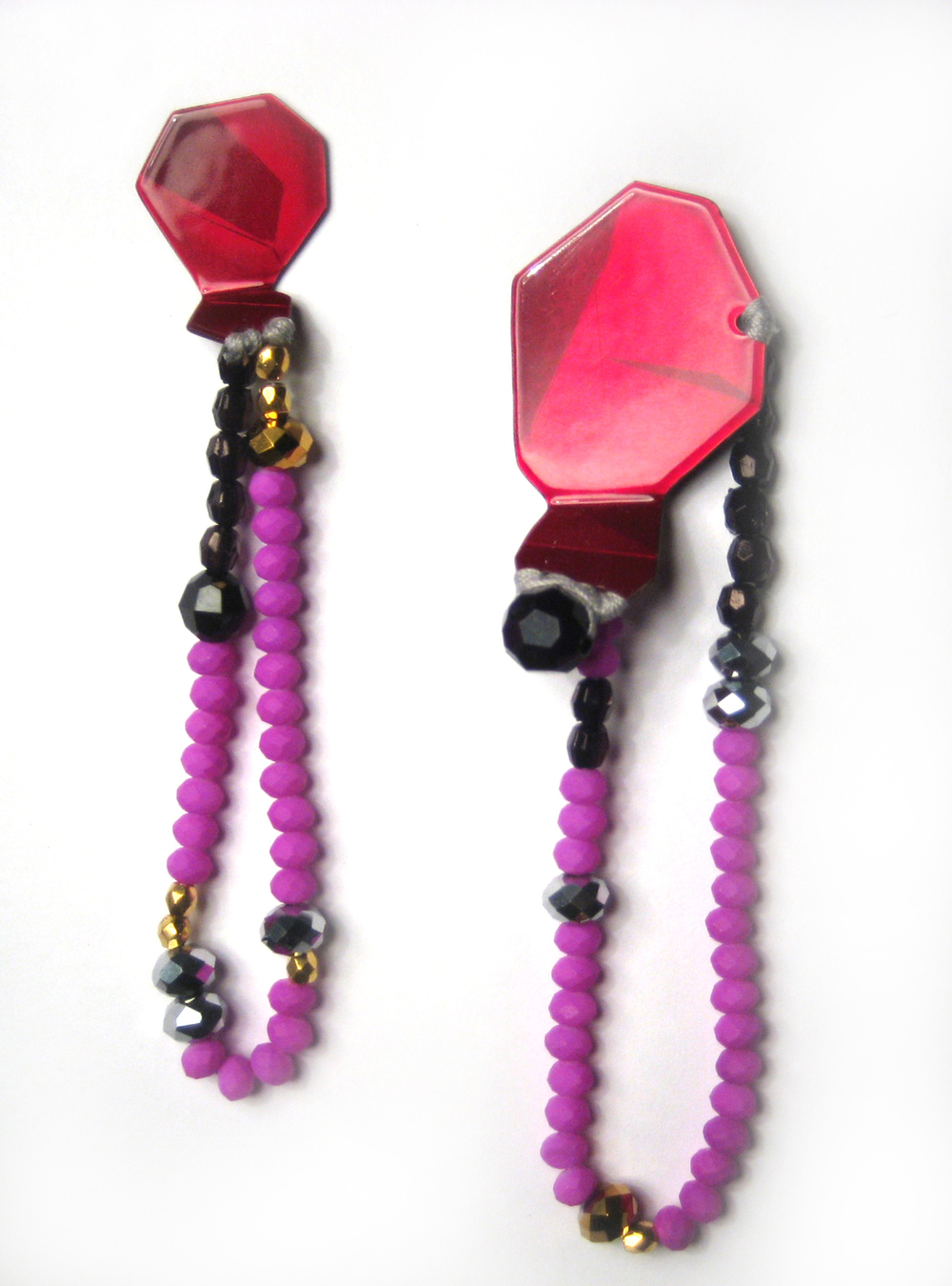 E1 Voegele, Stephanie raspberry geometric shape on top, purple, black & silver beads.jpg