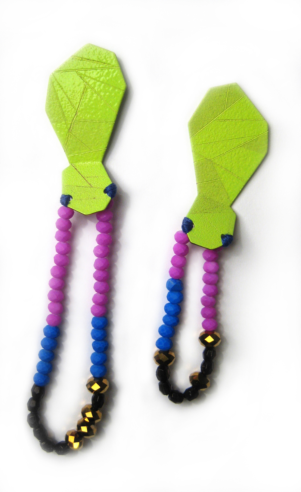E2 Voegele, Stephanie lime green geometric shape on top, blue, purple, black & gold beads.jpg
