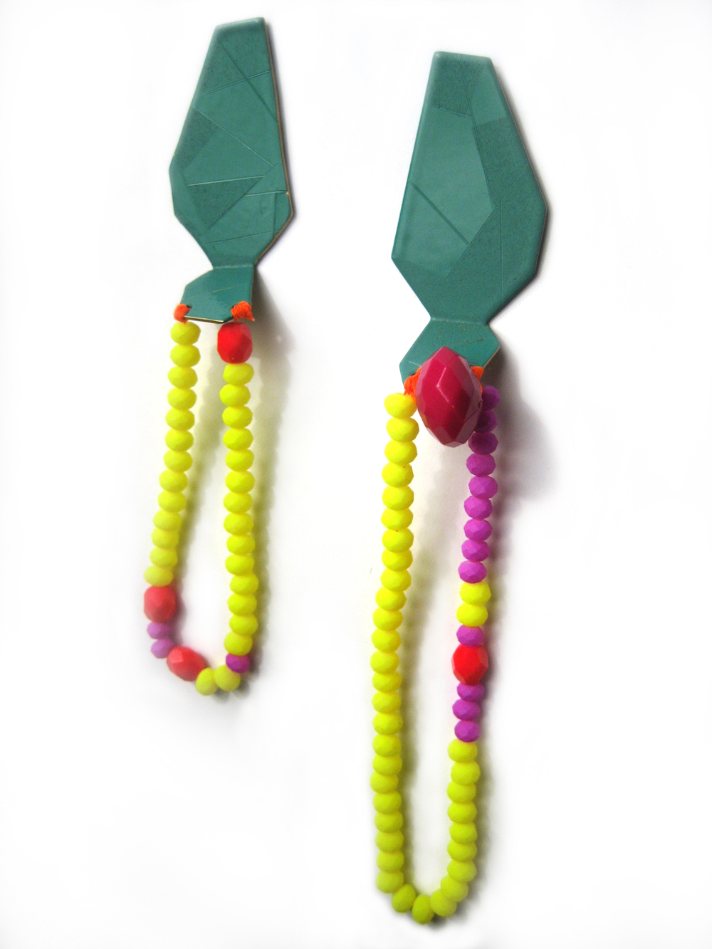 E6 Voegele, Stephanie teal geometric shape with neon yellow, pink, red beads.jpg