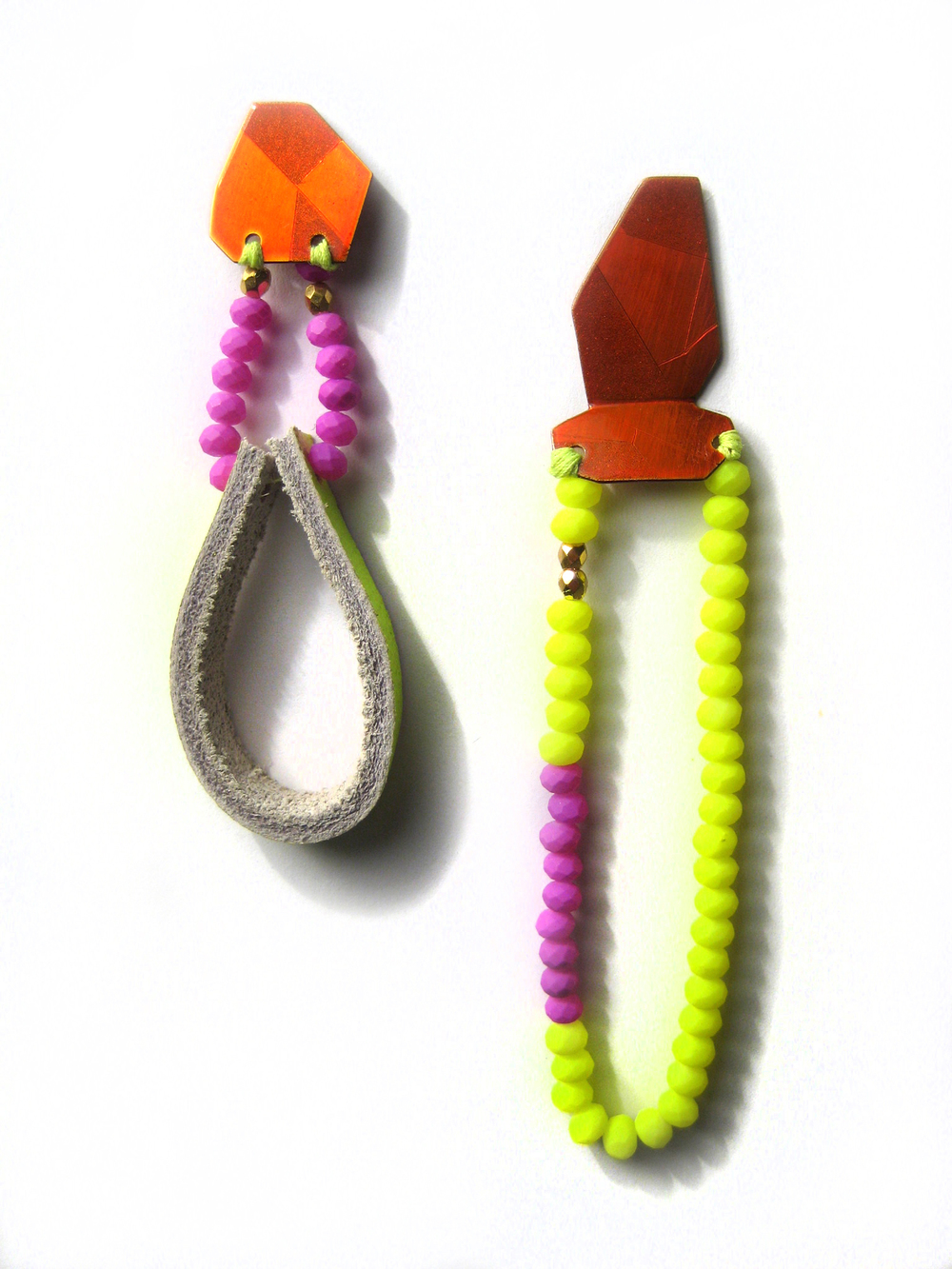 E7 Voegele, Stephanie small orange geometric shape with neon yellow and purple beads with yellow leather.jpg