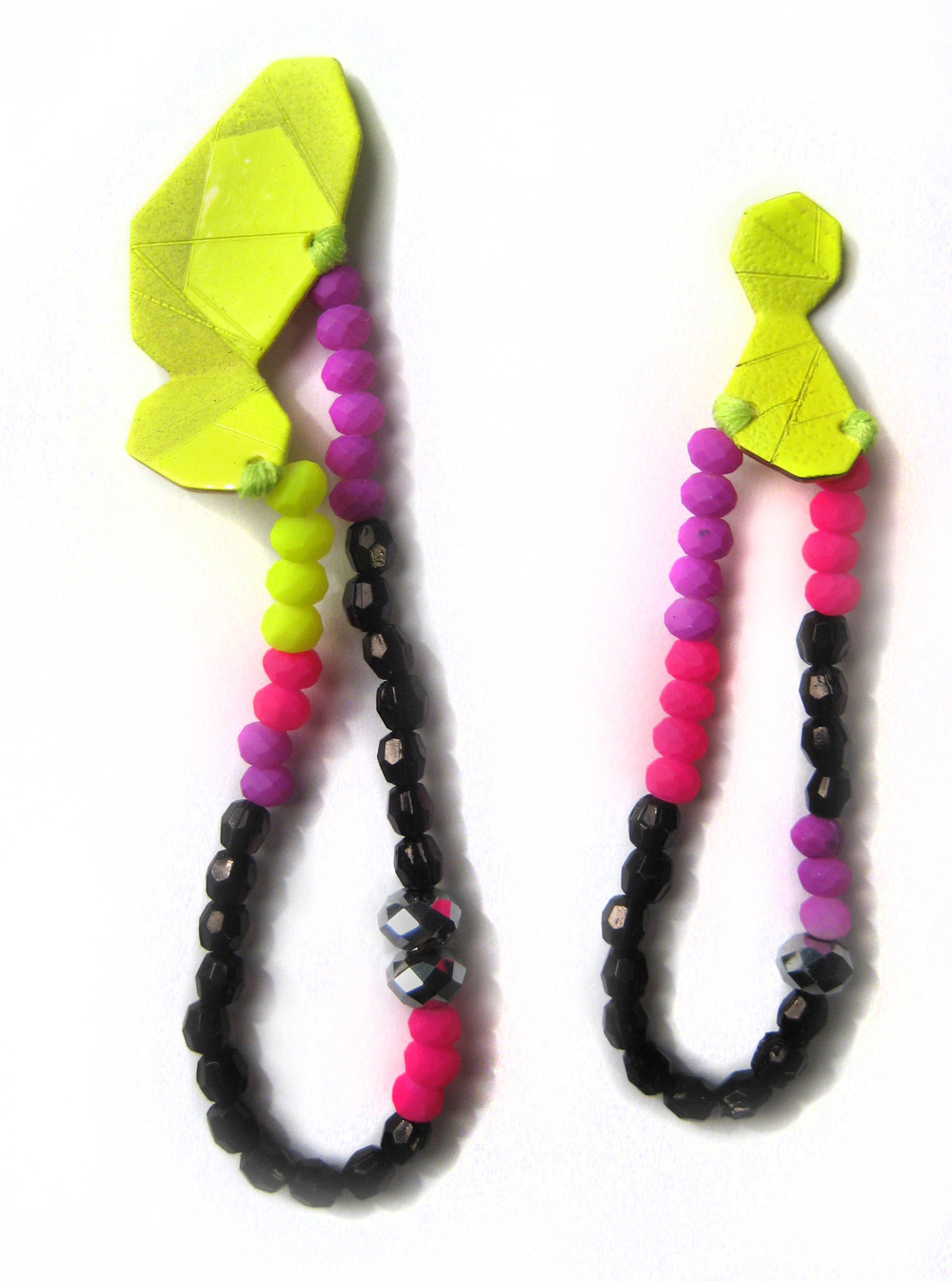 E9 Voegele, Stephanie small neon yellow geometric shape with purple, hot pink, black and silver beads.jpg