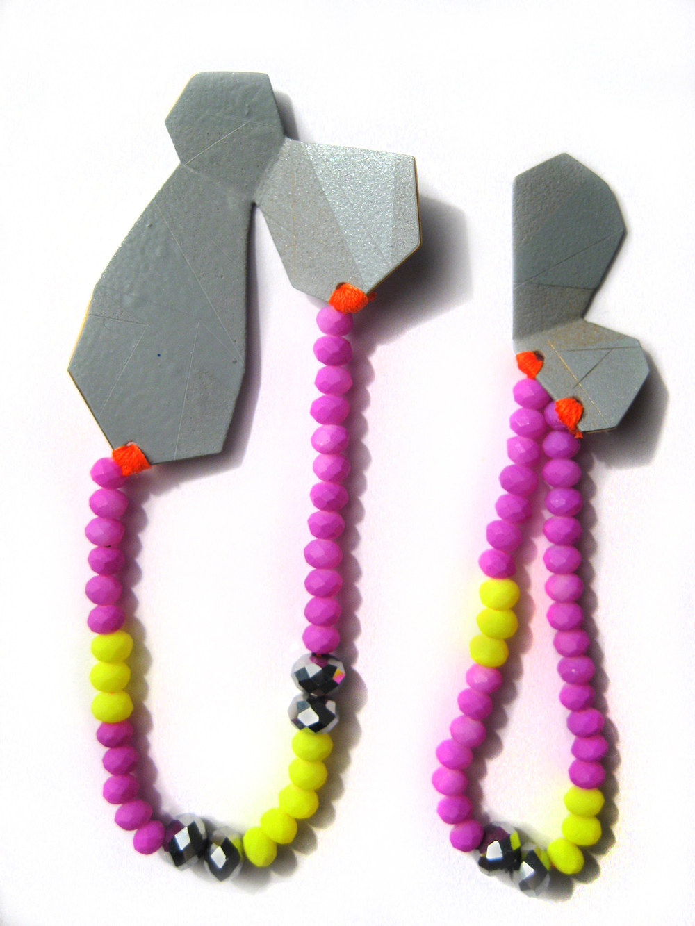 EE10 Voegele, Stephanie grey geometric shape with purple & neon yellow beads.jpg