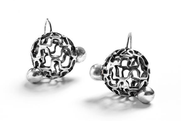 EE13 Holden, Sarah small sphere, ruffle pattern, 2 solid balls on each one, oxidized silver.jpg