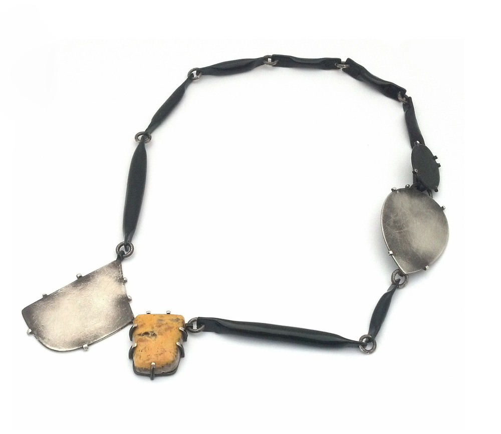 N1 Wood, Laura black links with two empty silver bezels and yellow stone.jpg