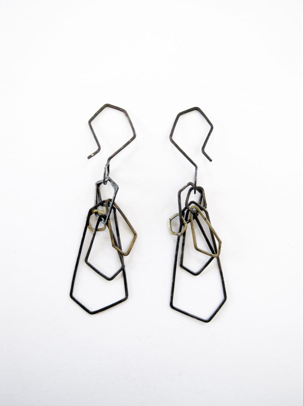 EE10 Mess, Kate oxidized silver and brass faceted chain earrings.jpg