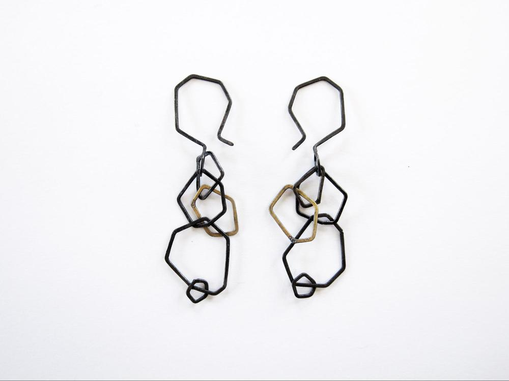 EE12 Mess, Kate small oxidized silver and brass faceted chain earrings.jpg