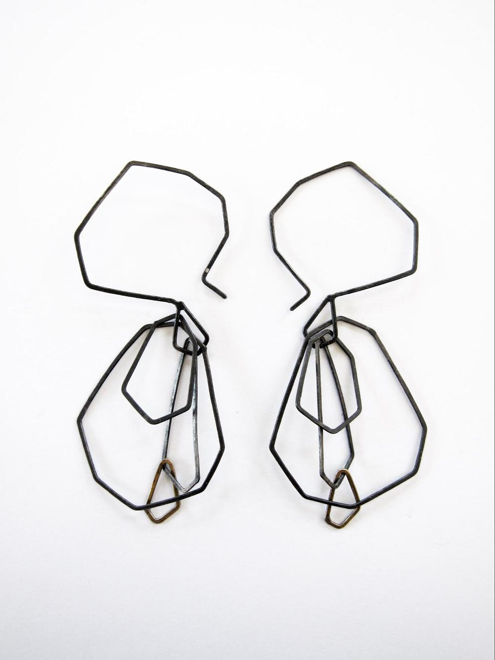 EE13 Mess, Kate oxidized silver and brass faceted chain earrings.jpg