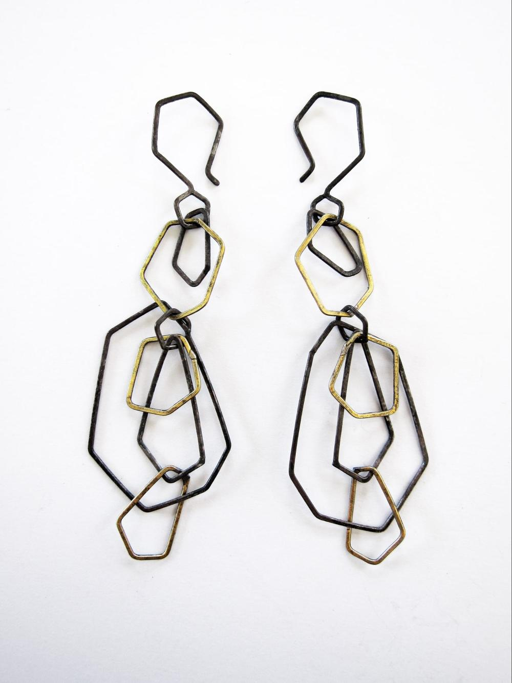 EE15 Mess, Kate oxidized silver and brass faceted chain earrings.jpg