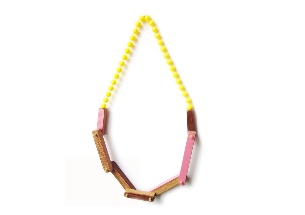 N1 Vanmol, Karen wood, pink and yellow bead necklace.jpg