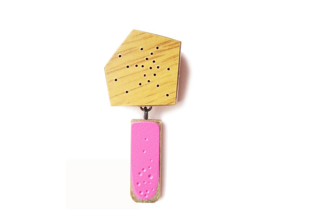 B1 Vanmol, Karen pink and wood brooch.jpg