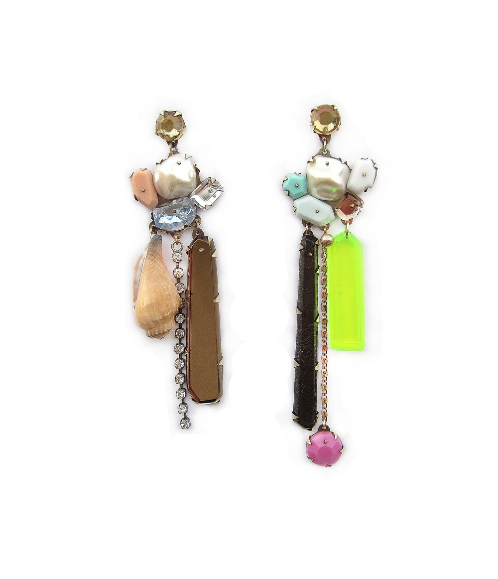 E3 Couppee, Nikki long dangles with multi colored gems and shell.jpg