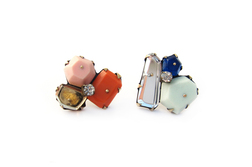 E4 Couppee, Nikki one pink, orange & brown gems on post, one blue & clear gems on post.jpg
