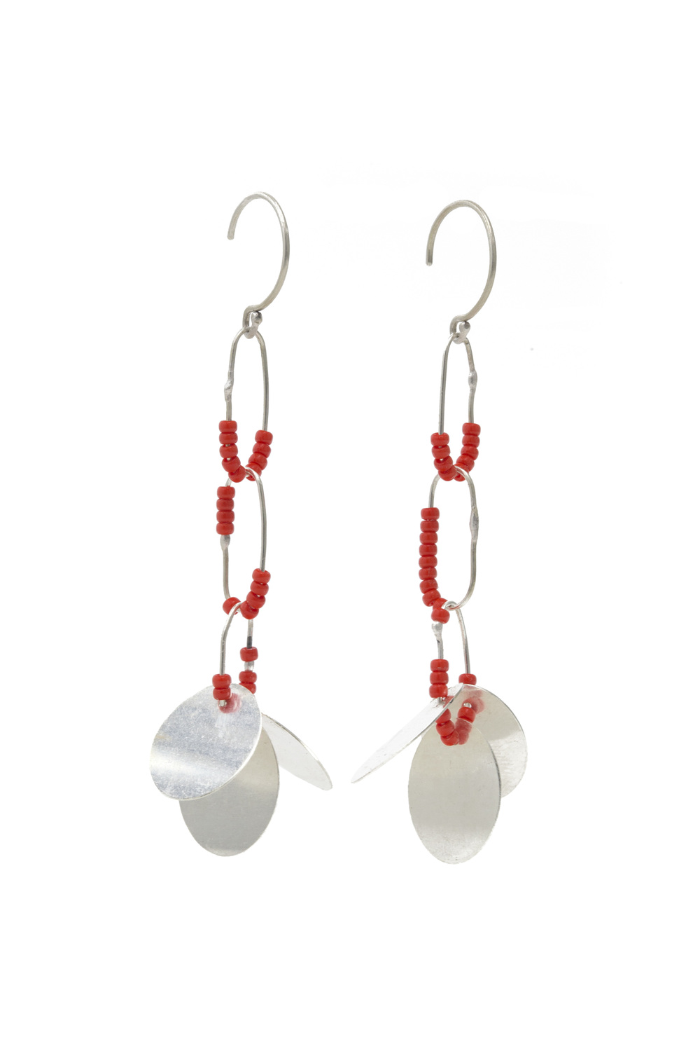EE15 Bump, Raissa (2512) long sterling silver with silver discs, red glass beads.jpg