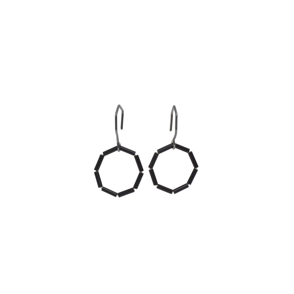 EE20 Bump, Raissa (2517) small octagon of matte black glass beads.jpg