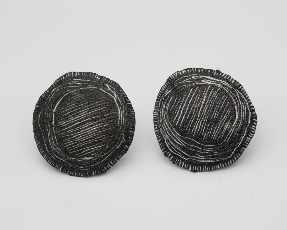 E1 Crane, Tanya copper, enamel & silver, black & white basket weave pattern.jpg